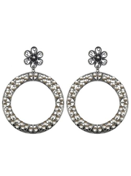 Victorio y Lucchino, pendientes Aro de filigrana en plata y perlas
