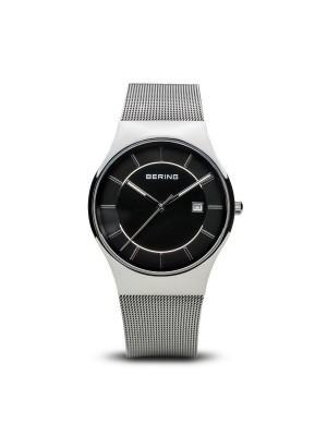 Bering Classic Collection plata pulido esfera negra