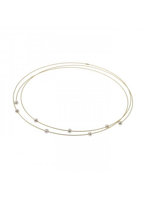 MagicWire, collar Spazio, en oro amarillo, titanio y perlas