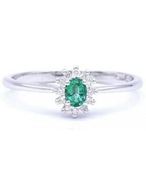 Davite & Delucchi anillo en oro blanco, rosetón de esmeralda con diamantes