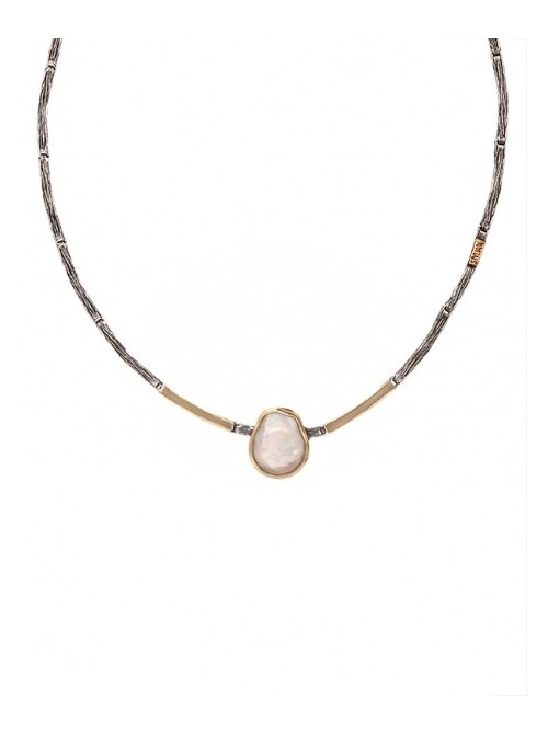 Styliano collar de plata, oro y perla