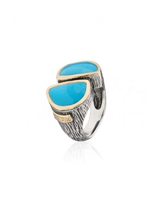 Styliano anillo de plata, oro y turquesas
