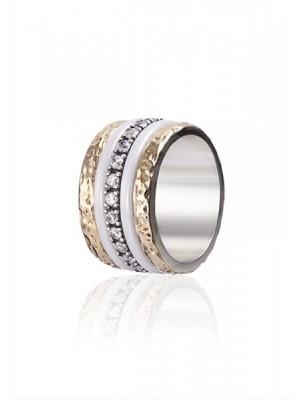 Styliano anillo Manueline de plata, oro, circonitas y cerámica, anti estrés