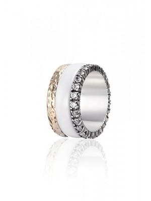 Styliano anillo Norman de plata, oro, circonitas y cerámica, anti estrés