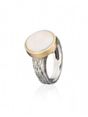 Styliano anillo de Perla Moneda en plata y oro
