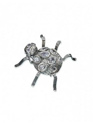 Styliano broche Araña de plata y circonias blancas