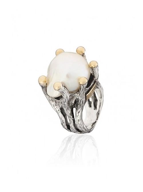 Styliano anillo de Perla Nucleada en plata y oro