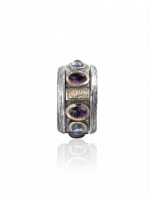 Styliano anillo Ottonian de plata y oro con amatista y topacio, anti estrés