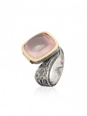 Styliano anillo de plata, oro y cuarzo rosa