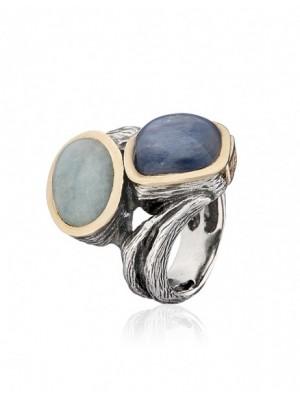 Styliano anillo de plata, oro  piedra de Agua marina y Cianita
