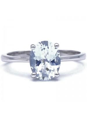 Davite & Delucchi anillo en oro blanco con aguamarina