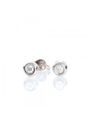 Davite & Delucchi pendientes en oro blanco, chatón de diamante