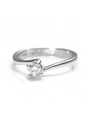 Davite & Delucchi, anillo solitario de diamante, en oro blanco