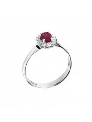 Davite & Delucchi anillo en oro blanco, rosetón de rubí con diamantes