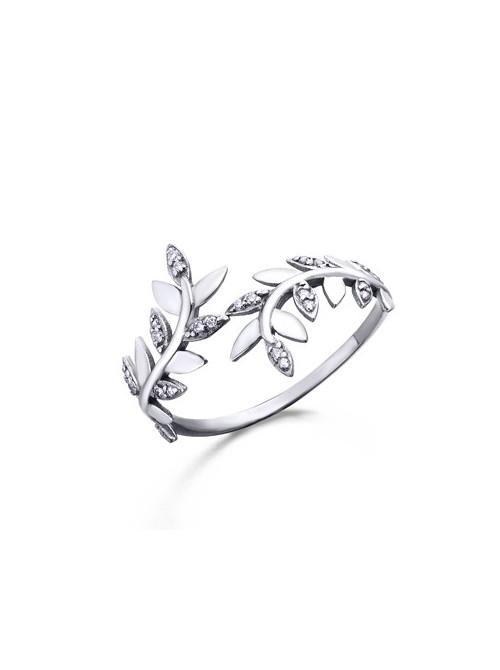 LeCarré Anillo Hoja Oro Blanco y Diamantes