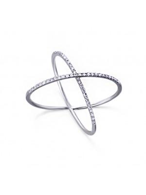 LeCarré anillo cruzado Oro Blanco y Diamantes