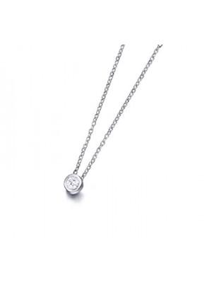 LeCarré diamante talla brillante con cadena de oro blanco