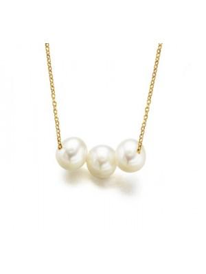 LeCarré Cadena de Oro con Tres Perlas