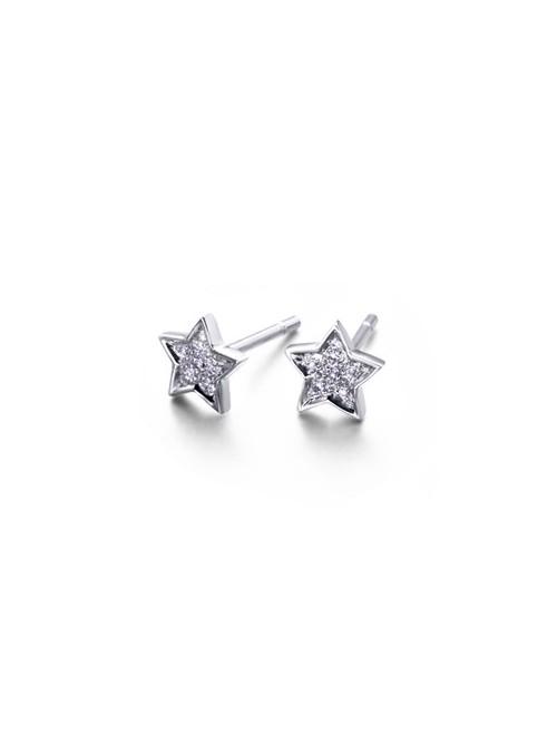 LeCarré pendientes en forma de Estrella de Oro Blanco con Diamantes
