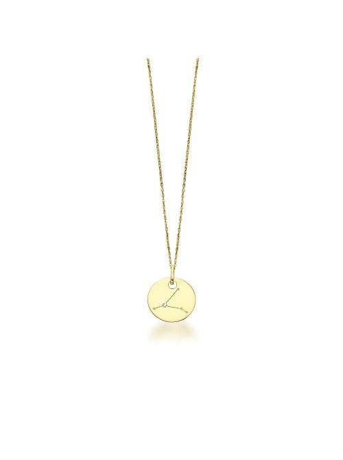 LeCarré Cadena y chapita de oro de Constelación de Horóscopo con diamante