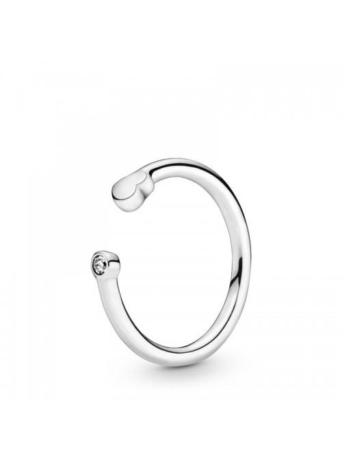 Pandora anillo en plata de Ley Abierto Corazones Lisos