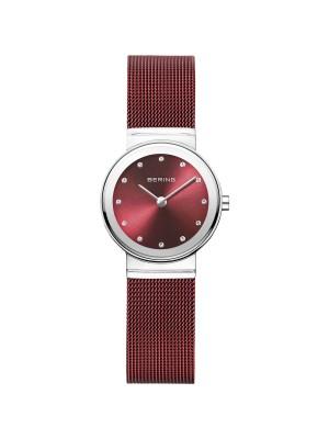 Bering, reloj de mujer con esfera roja efecto rayos de sol