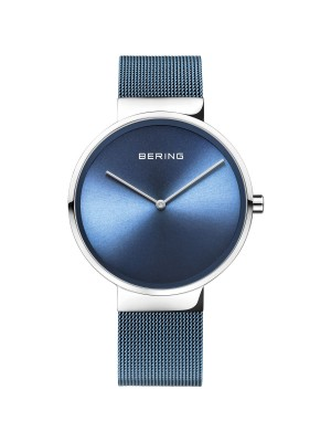 Bering, reloj azul de mujer con correa de malla milanesa azul