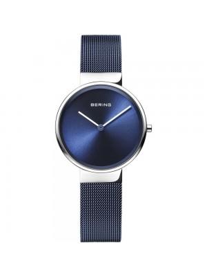 Bering, reloj azul unisex con correa de malla milanesa azul