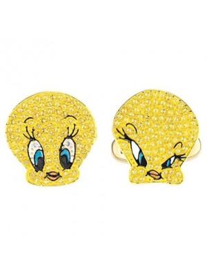 Swarovski, gemelos Looney Tunes Piolín, amarillo, baño en tono oro