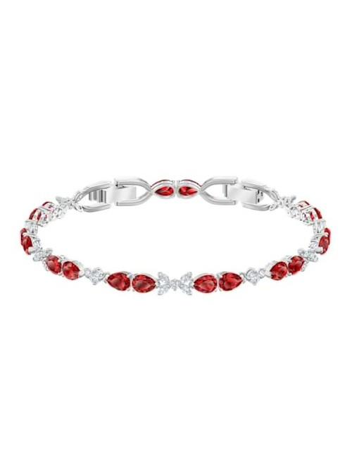 Swarovski pulsera Louison, rojo, baño de rodio