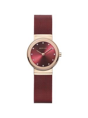 Bering, reloj rojo de mujer con correa de malla milanesa roja