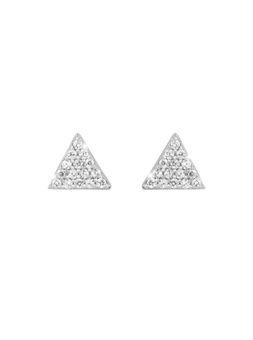 Rebecca, pendientes en plata con triángulos en pavé de circonitas