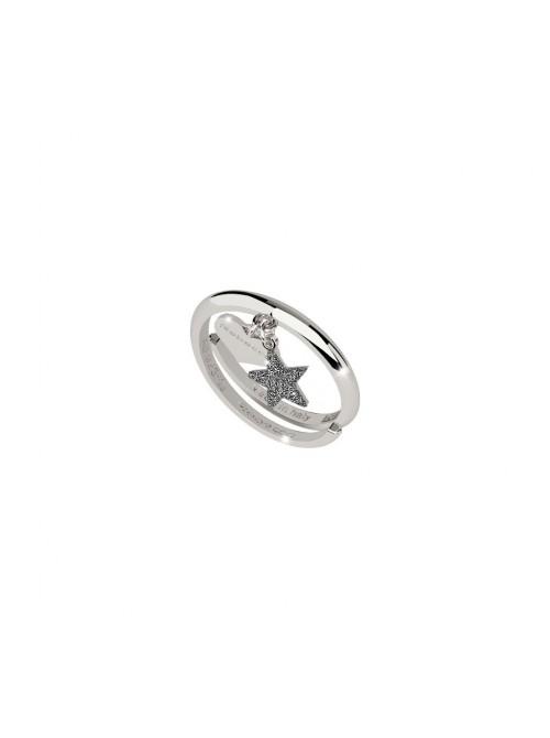 Rebecca, anillo con corazón y estrella en plata con polvo de diamantes