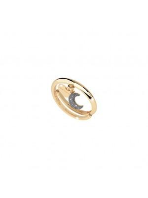 Rebecca, anillo con corazón y luna en plata chapada en oro con polvo de diamantes