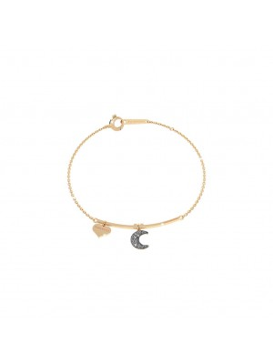 Rebecca, pulsera semirigida en plata con luna y micro diamantes