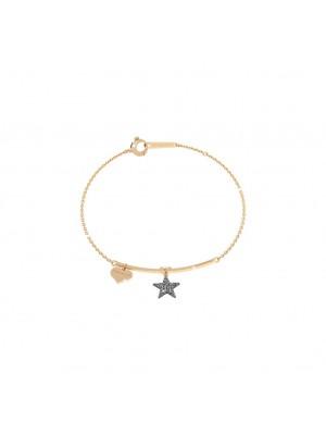 Rebecca, pulsera semirigida en plata con estrella y micro diamantes