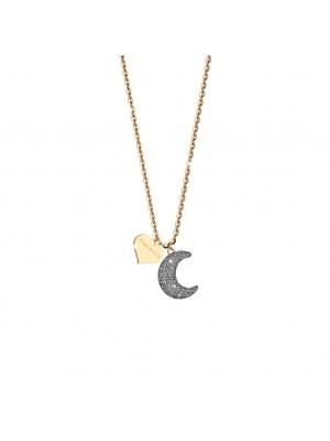 Rebecca, collar en plata chapada con luna y micro diamantes