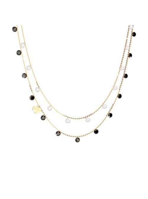 Rebecca, collar doble en plata chapada con piedras blancas y negras