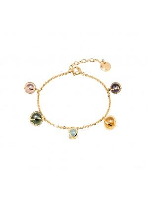 Rebecca, pulsera en plata chapada en oro con piedras multicolor