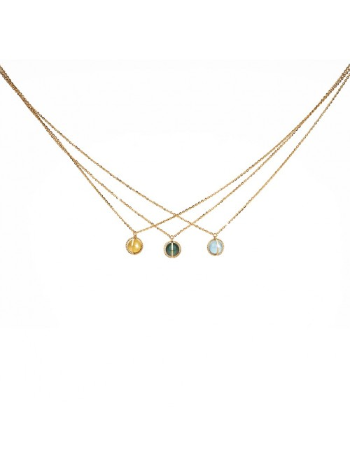 Rebecca, collar en plata chapada en oro amarillo con piedras de color