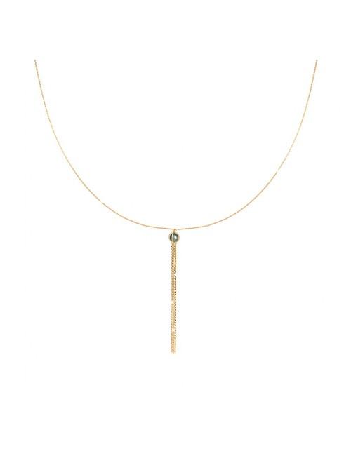 Rebecca, collar largo en plata chapada en oro con piedra en color verde
