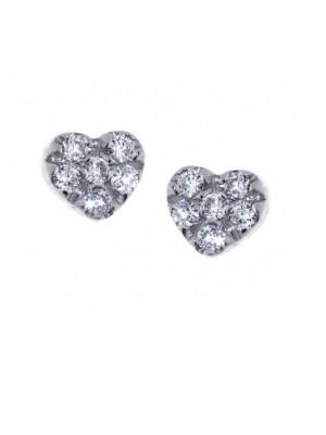 Davite & Delucchi pendientes de botón corazón en oro blanco  y diamantes