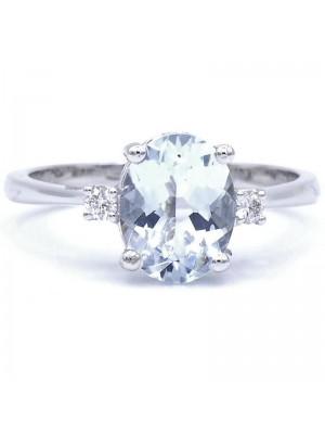 Davite & Delucchi anillo en oro blanco con aguamarina y diamantes