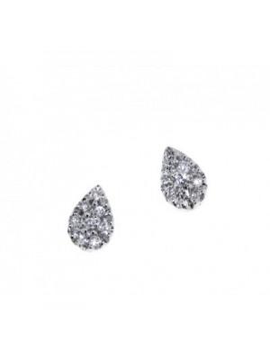 Davite & Delucchi pendientes de botón en oro blanco  y diamantes