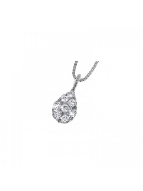 Davite & Delucchi collar Classic Line, gota en oro blanco  y diamantes