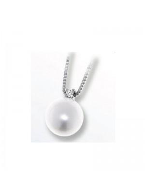 Davite & Delucchi collar Classic Line, en oro blanco, diamante y perla