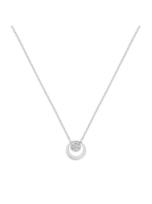 Itemporality collar con colgante redondo en oro blanco con diamantes