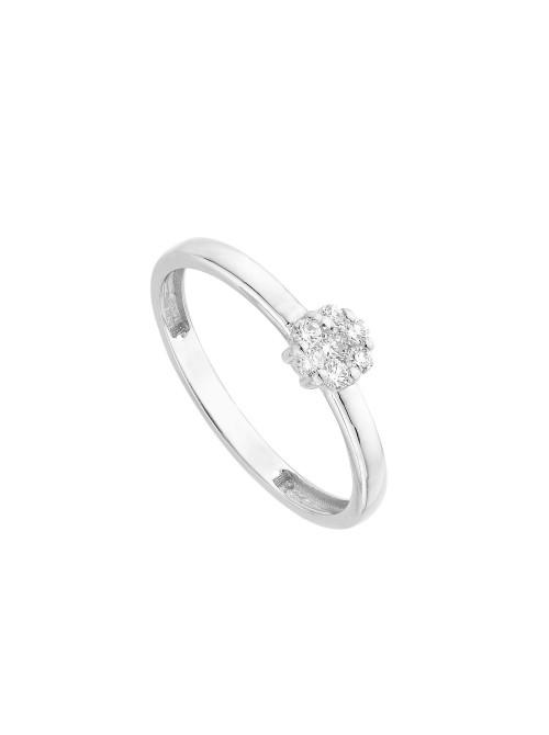 Itemporality anillo flor en oro blanco con diamantes