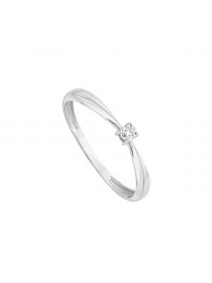 Itemporality anillo solitario en oro blanco con diamante