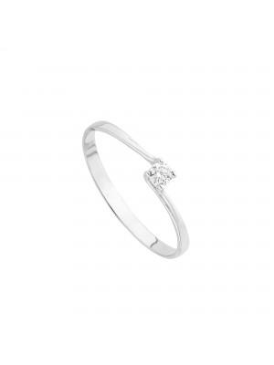 Itemporality anillo solitario torcido en oro blanco con diamante